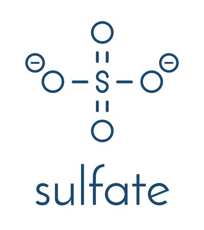 Sulfate anion, chemical structure. Skeletal formula.