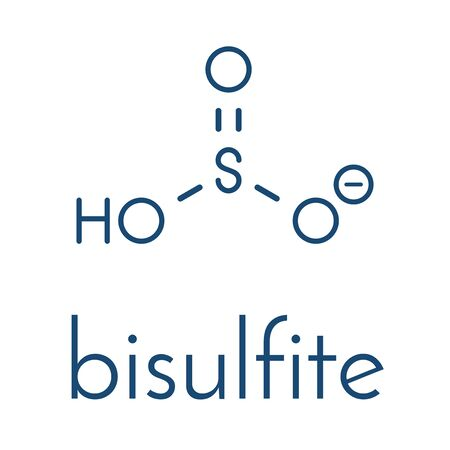 Bisulfite anion, chemical structure. Common salts include sodium bisulfite (E222) and potassium bisulfite (E228), used as food preservatives. Skeletal formula. 일러스트
