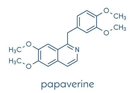 Papaverine opium alkaloid molecule. Used as antispasmodic drug. Skeletal formula. Vektoros illusztráció