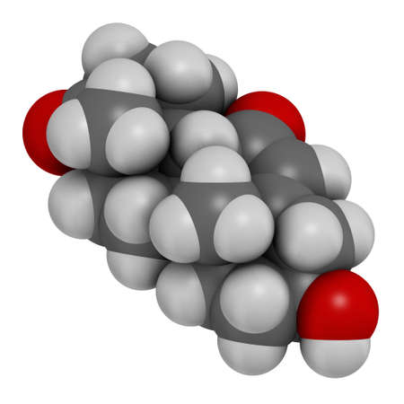 7-Ketodehydroepiandrosterone or 7-keto-DHEA molecule. 3D rendering. Atoms are represented as spheres with conventional color coding: hydrogen (white), carbon (grey), oxygen (red).