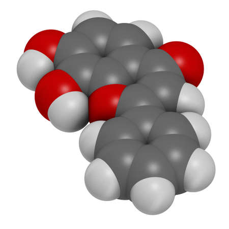 7,8-Dihydroxyflavone or 7,8-DHF molecule. 3D rendering. Atoms are represented as spheres with conventional color coding: hydrogen (white), carbon (grey), oxygen (red).