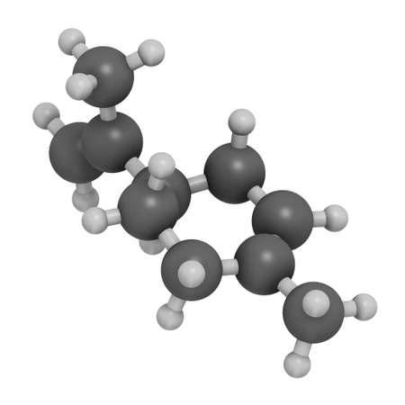 Limonene (D-limonene) citrus scent molecule. 3D rendering. Atoms are represented as spheres with conventional color coding: hydrogen (white), carbon (grey). Foto de archivo