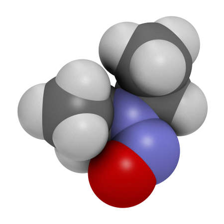 N-Nitroso-diethylamine or NDEA carcinogenic molecule. 3D rendering. Atoms are represented as spheres with conventional color coding: hydrogen (white), carbon (grey), oxygen (red), nitrogen (blue). Stockfoto