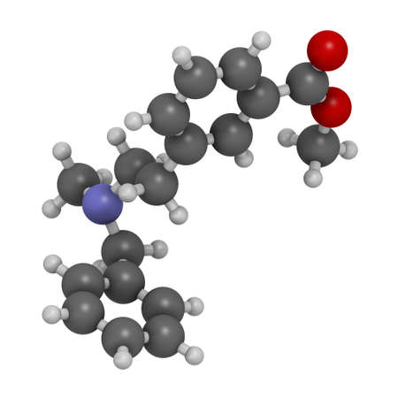 PRL-8-53 nootropic research chemical molecule. 3D rendering. Atoms are represented as spheres with conventional color coding: hydrogen (white), carbon (grey), oxygen (red), nitrogen (blue).