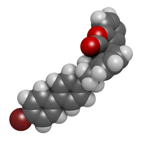 Brodifacoum rodenticide molecule. 3D rendering. Atoms are represented as spheres with conventional color coding: hydrogen (white), carbon (grey), oxygen (red), bromine (brown).