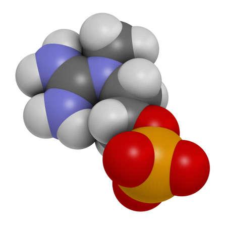 Creatinol-O-Phosphate or COP molecule. 3D rendering. Atoms are represented as spheres with conventional color coding: hydrogen (white), carbon (grey), oxygen (red), nitrogen (blue), phosphorus (orange). Archivio Fotografico