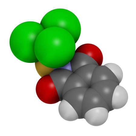 Folpet fungicide molecule. 3D rendering. Atoms are represented as spheres with conventional color coding: hydrogen (white), carbon (grey), oxygen (red), sulfur (yellow), nitrogen (blue), chlorine (green).
