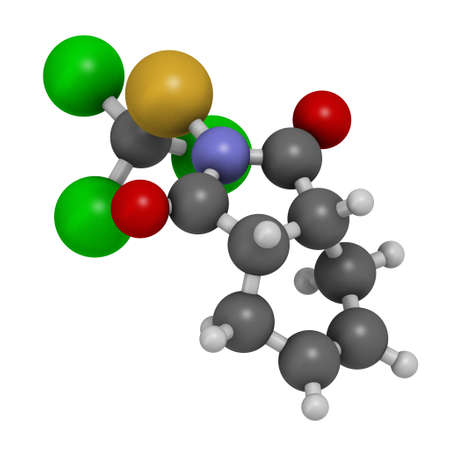 Captan fungicide molecule. 3D rendering. Atoms are represented as spheres with conventional color coding: hydrogen (white), carbon (grey), oxygen (red), sulfur (yellow), nitrogen (blue), chlorine (green).