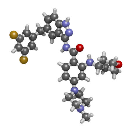 Entrectinib cancer drug molecule. 3D rendering. Atoms are represented as spheres with conventional color coding: hydrogen (white), carbon (grey), nitrogen (blue), oxygen (red), fluorine (gold).