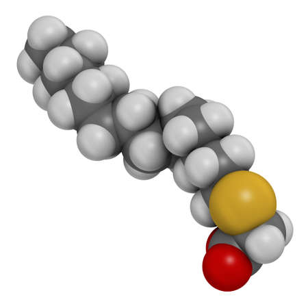 Tetradecylthioacetic acid molecule. 3D rendering. Atoms are represented as spheres with conventional color coding: hydrogen (white), carbon (grey), oxygen (red), sulfur (yellow). Reklamní fotografie