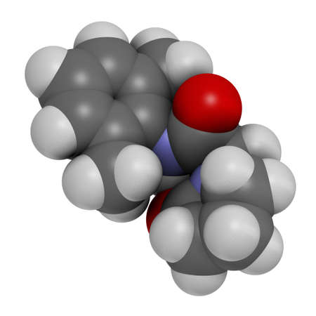 Nefiracetam nootropic drug molecule. 3D rendering. Atoms are represented as spheres with conventional color coding: hydrogen (white), carbon (grey), oxygen (red), nitrogen (blue).
