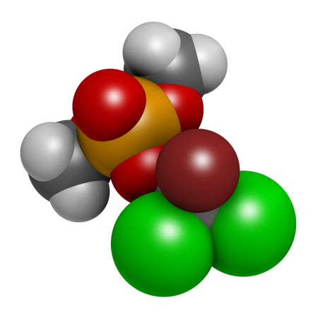 Naled insecticide molecule (organophosphate class). 3D rendering. Atoms are represented as spheres with conventional color coding: hydrogen (white), carbon (grey), oxygen (red), phosphorus (orange), bromine (brown), chlorine (green).