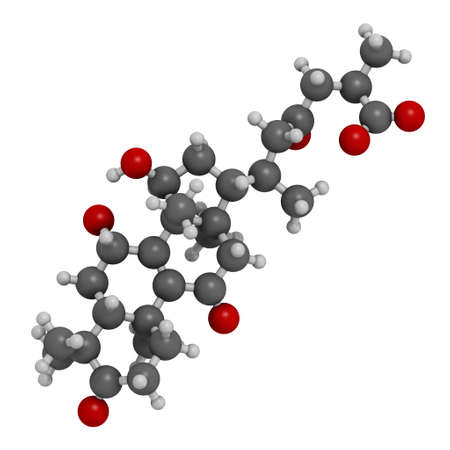 Ganoderic acid A molecule. Present in Ganoderma mushrooms. 3D rendering. Atoms are represented as spheres with conventional color coding: hydrogen (white), carbon (grey), oxygen (red). Banque d'images