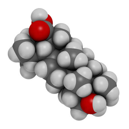 Ursolic acid molecule. Triterpenoid present in fruit peels. 3D rendering. Atoms are represented as spheres with conventional color coding: hydrogen (white), carbon (grey), oxygen (red).