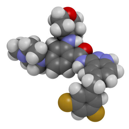 Entrectinib cancer drug molecule. 3D rendering. Atoms are represented as spheres with conventional color coding: hydrogen (white), carbon (grey), nitrogen (blue), oxygen (red), fluorine (gold). Stock fotó
