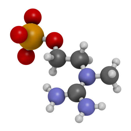 Creatinol-O-Phosphate or COP molecule. 3D rendering. Atoms are represented as spheres with conventional color coding: hydrogen (white), carbon (grey), oxygen (red), nitrogen (blue), phosphorus (orange).