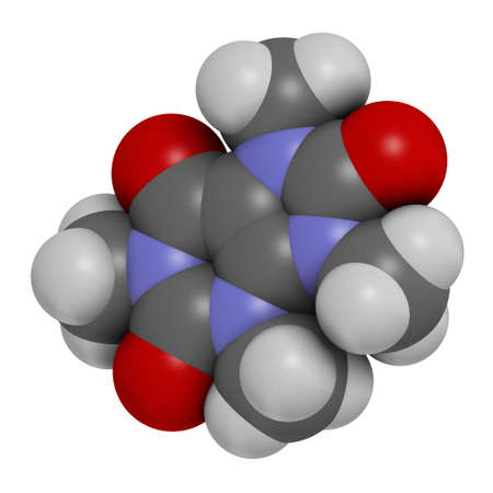 Theacrine molecule. Caffeine analog present in kucha tea. 3D rendering. Atoms are represented as spheres with conventional color coding: hydrogen (white), carbon (grey), oxygen (red), nitrogen (blue).