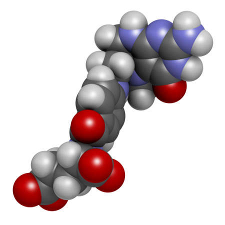 Levomefolic acid or 5-methyltetrahydrofolate molecule. 3D rendering. Atoms are represented as spheres with conventional color coding: hydrogen (white), carbon (grey), oxygen (red), nitrogen (blue).