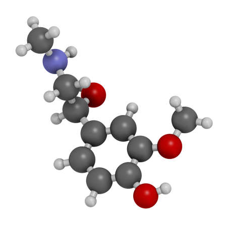 Metanephrine (metadrenaline) molecule. Metabolite of epinephrine that is biomarker for pheochromocytoma. 3D rendering. Atoms are represented as spheres with conventional color coding: hydrogen (white), carbon (grey), oxygen (red), nitrogen (blue).