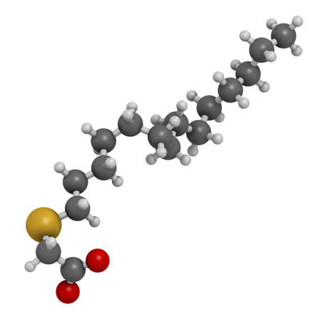 Tetradecylthioacetic acid molecule. 3D rendering. Atoms are represented as spheres with conventional color coding: hydrogen (white), carbon (grey), oxygen (red), sulfur (yellow).