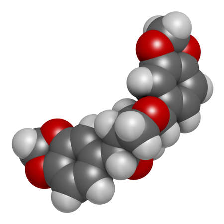 Sesamin molecule. Lignan present in sesame oil. 3D rendering. Atoms are represented as spheres with conventional color coding: hydrogen (white), carbon (grey), oxygen (red).