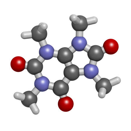 Theacrine molecule. Caffeine analog present in kucha tea. 3D rendering. Atoms are represented as spheres with conventional color coding: hydrogen (white), carbon (grey), oxygen (red), nitrogen (blue). Reklamní fotografie