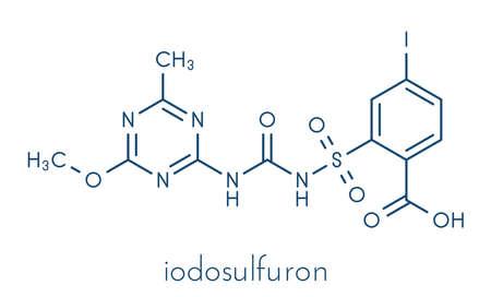 Iodosulfuron herbicide molecule. Skeletal formula. Banque d'images