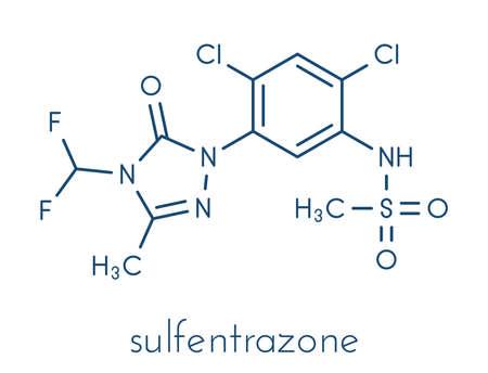 Sulfentrazone herbicide molecule. Skeletal formula. Standard-Bild