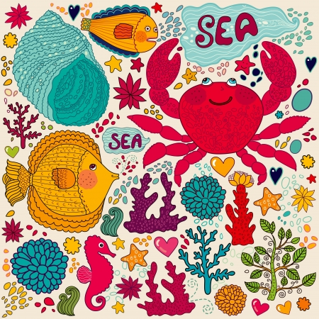 algas marinas: fondo de pantalla con peces, cangrejos diversi�n y la vida marina Vectores