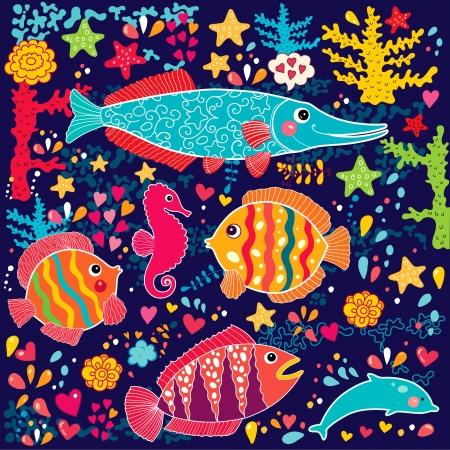 Tapete mit Fisch und Meerestiere