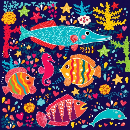 wallpaper with fish and marine life Vector