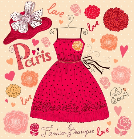 boutiques: Fashion background with dress and hat Illustration