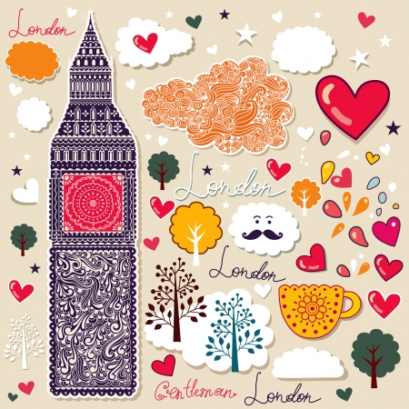 set of London symbols   Stock Vector - 14554735