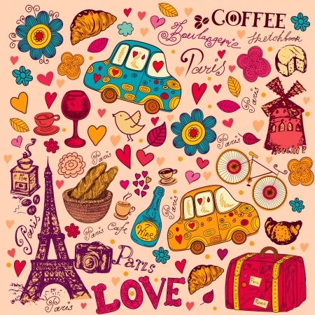 paris vintage: conjunto de símbolos de París patrón sin fisuras