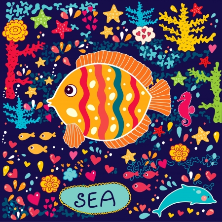 sea horse: wallpaper with fish and marine life