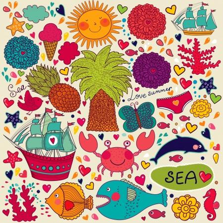 caballo de mar: Vector Set verano, sin patr�n de los s�mbolos de viajes y el verano