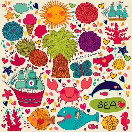 romantic getaway: Vector summer seamless pattern  Set of travel and summer symbols