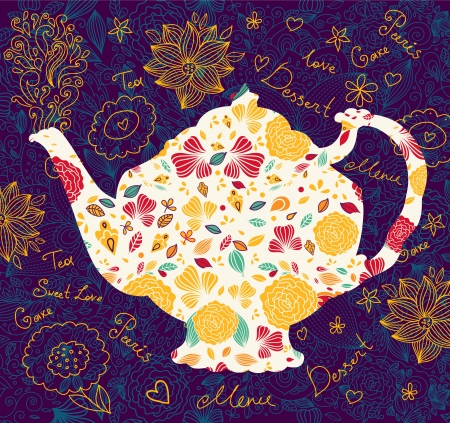 template with teapot Vector
