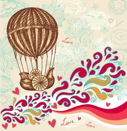 ballon dirigeable: Vintage ballon dessin � la main avec des nuages