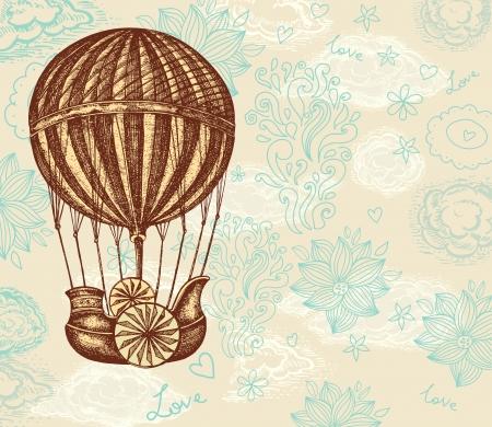 vintage travel: Vintage ballon dessin à la main avec des nuages