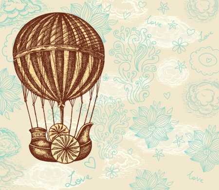 airship: Vintage hand drawing balloon with clouds