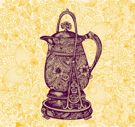 birthday tea: template with coffee pot