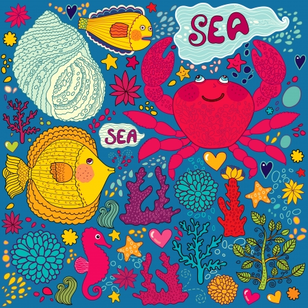 wallpaper with fish, fun crab and marine life Vector