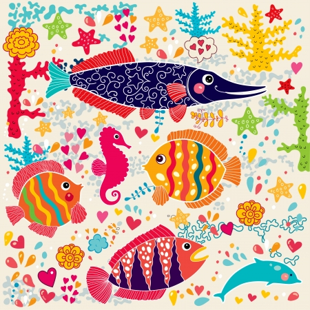 under the sea: wallpaper with fish and marine life  Illustration