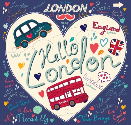 england: set of London symbols and hand lettering of main place in town
