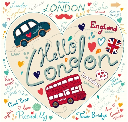 london bus: set of London symbols and hand lettering of main place in town