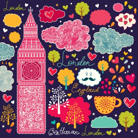 set of London symbols Stock Vector - 15383666