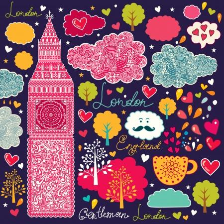 english tea:  set of London symbols