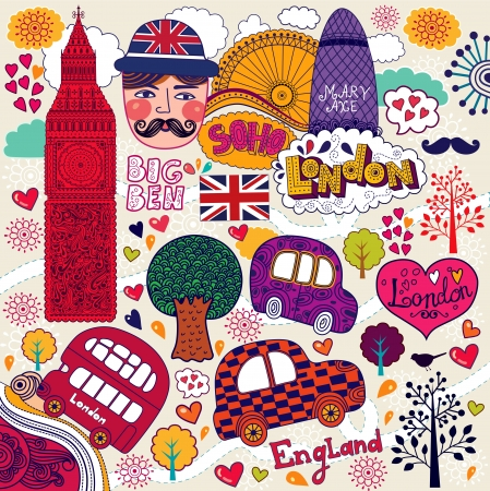 london bus: set of London symbols and hand lettering of main place in town   Illustration