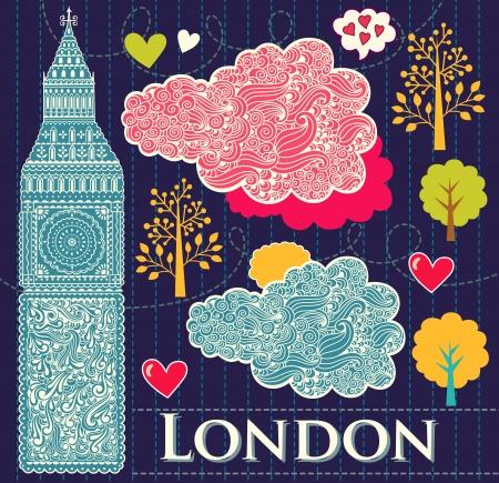 london: set van Londen symbool Stock Illustratie